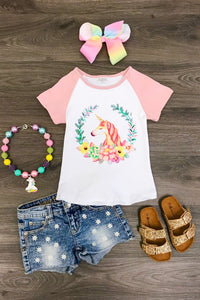 White and Pink Unicorn Top