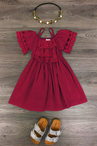 Burgundy Lace Shoulder Dress
