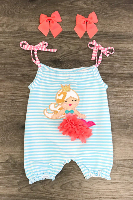Blue Stripe Mermaid Infant Romper