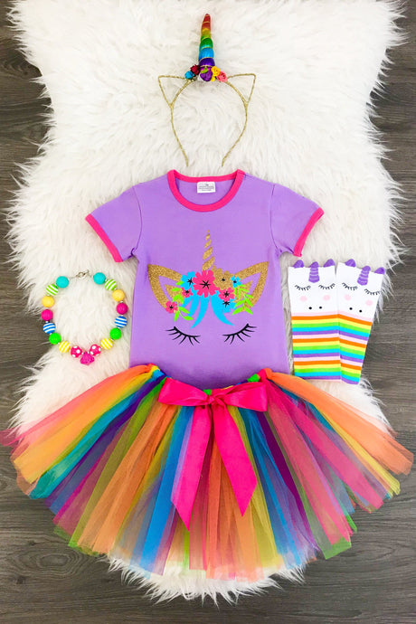 COLORFUL UNICORN TUTU SKIRT SET