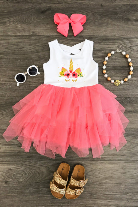 Coral Pink Unicorn Tutu Dress