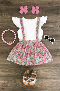 Rose Floral Suspender Skirt Set