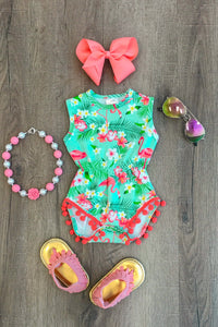 Fancy Flamingo Pom Pom Romper