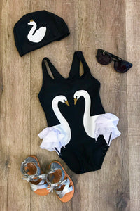 Black/White Swan Swimsuit Set - Free Swim Cap!
