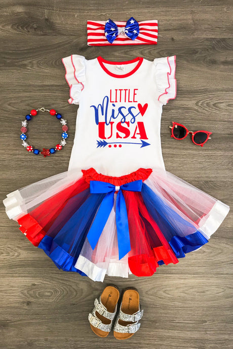 Little Miss USA Ruffle Shirt & Skirt Set