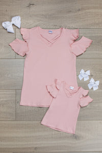 Mom n Mia - Pink Matching Open Shoulder Top