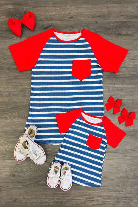 Mom & Mia - Red, White & Blue Stripe Shirts