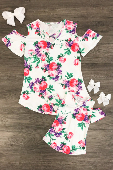 Mom n Mia - Matching White, Purple & Pink Floral Dress