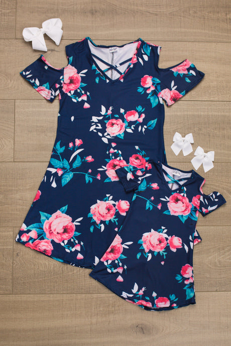 Mom n Mia - Matching Navy Blue Floral Dress