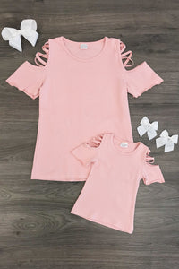 Mom n Mia - Blush Pink Open Shoulder Matching Top