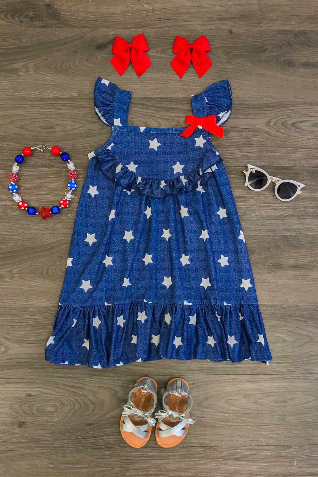 Navy & White Star Halter Dress