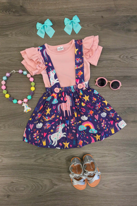 Purple Rainbow Unicorn Suspender Skirt Set