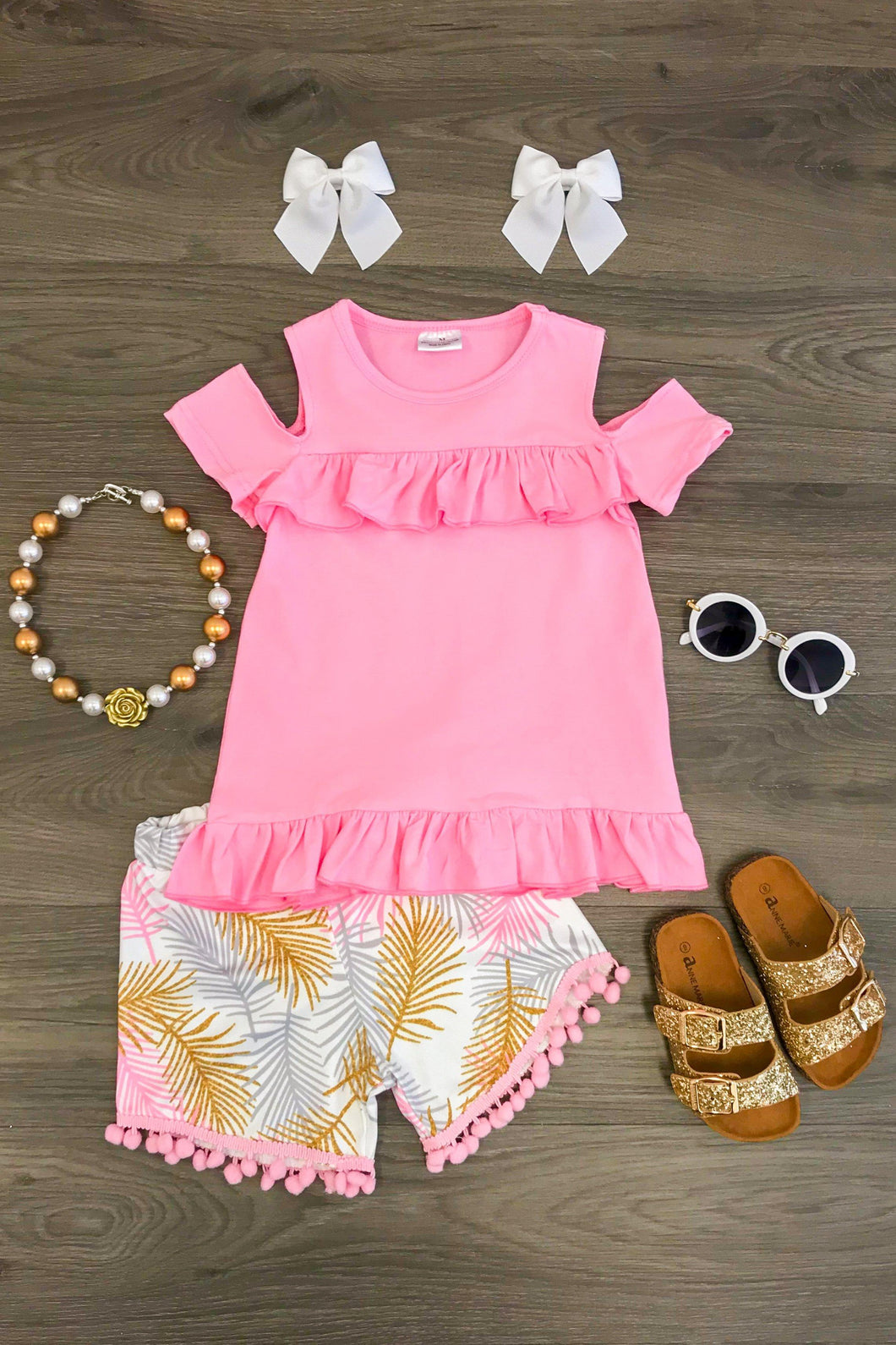 Pink & Gold Pom Pom Short Set