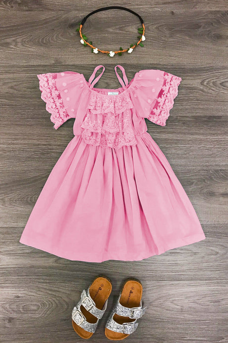 Pink Lace Open Shoulder Dress