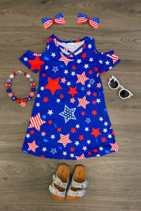 Royal Blue & Amercian Stars Open Shoulder Dress