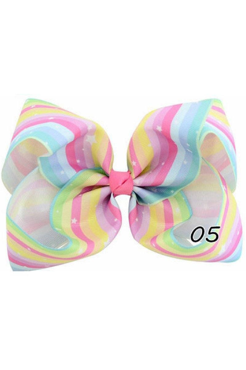 STRIPE PASTEL RAINBOW BOW - 6 INCH