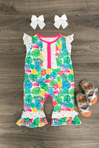 TROPICAL FLAMINGO ROMPER