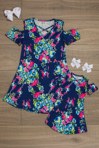 Mom n Mia - Matching Tunic Blue Floral Dress