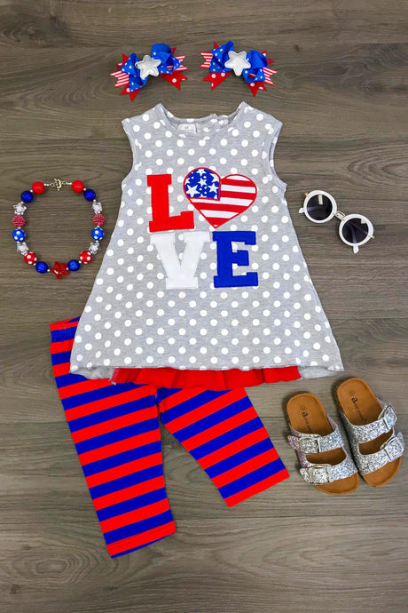 Love Flag Capri Set