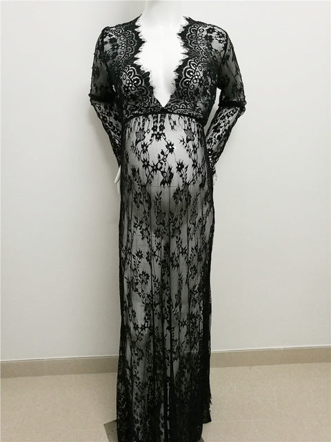 Long Lace See-Through Maternity Dress
