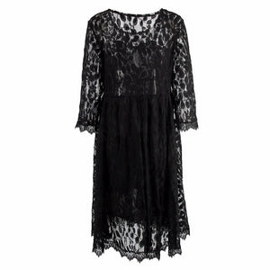 Long Sleeve Black Lace Maternity Dress - One Size Fits All