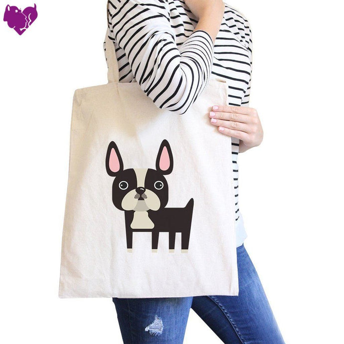 French Bulldog Natural Canvas Bags Gifts For Bull Dog Owner - Women - Totes
