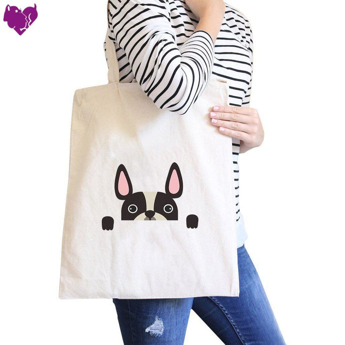French Bulldog Peek A Boo Natural Canvas Bag Gifts For Dog Owners - - Women - Bags - Totes
