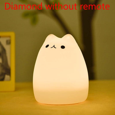 Colorful Cat Silicone LED Night Children Cute Night Lamp Bedroom Light