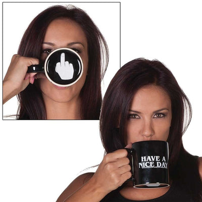 Office Monday Have a Nice Day Coffee Mug with twist of Middle Finger