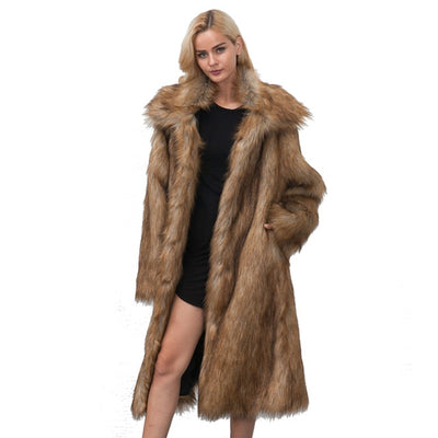 FLULU Casual Winter Coat Women 2018 Fashion Long Sleeve Jacket Coat Warm Loose Thick Lengthen Faux Fur Coat Outerwear Plus Size