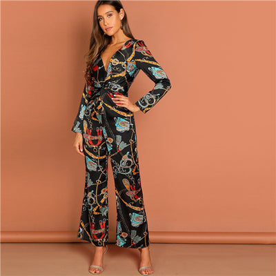 Fancy Multi color Waist Knot Chain Print V-Neck Jumpsuit Elegant Office Lady