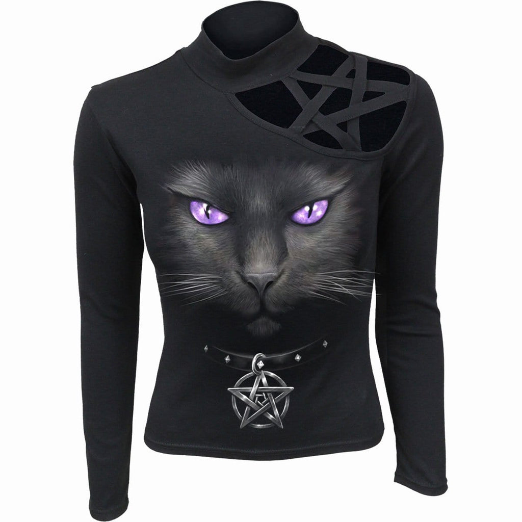 BLACK CAT - Pentagram Shoulder Longsleeve Top - Spiral USA