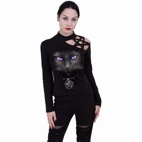 Image of BLACK CAT - Pentagram Shoulder Longsleeve Top - Spiral USA