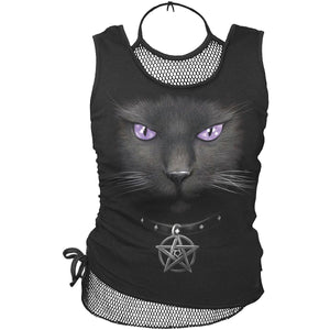 BLACK CAT - 2in1 Neck Tie Mesh Top Black - Spiral USA