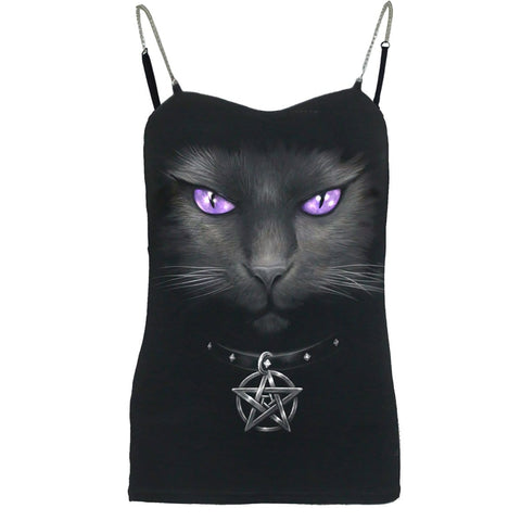 BLACK CAT - Adjustable Chain Camisole Top Black - Spiral USA