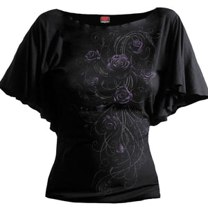 ENTWINED - Boat Neck Bat Sleeve Top Black - Spiral USA