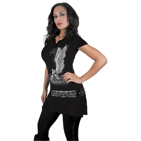 Image of ENSLAVED ANGEL - Stud Waist Mini Dress Black - Spiral USA