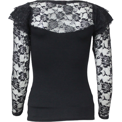 ENSLAVED ANGEL - Lace Layered Long Sleeve Top Black - Spiral USA