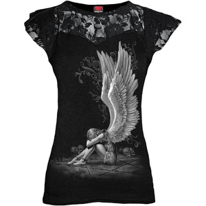 ENSLAVED ANGEL - Lace Layered Cap Sleeve Top Black