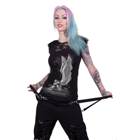 Image of ENSLAVED ANGEL - Lace Layered Cap Sleeve Top Black - Spiral USA