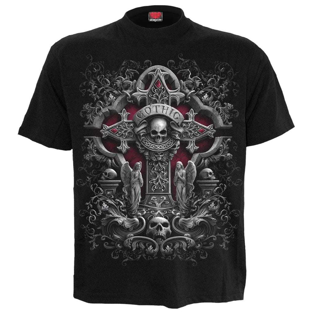 IN GOTH WE TRUST - Front Print T-Shirt Black - Spiral USA