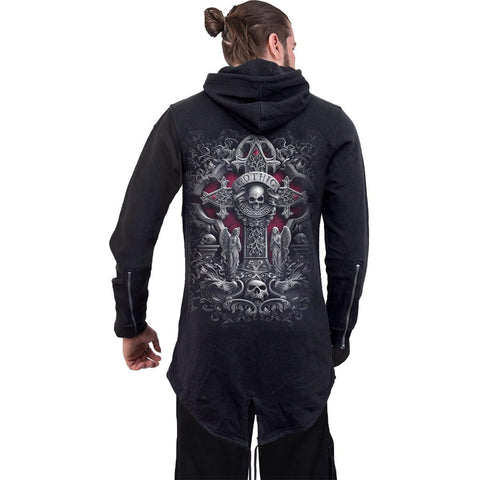 IN GOTH WE TRUST - Mens Fish Tail Zipper Hoody - Zip Sleeves - Spiral USA