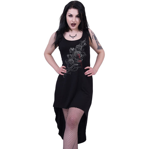 FATAL ATTRACTION - Gothic High-Low Hem Dress Black - Spiral USA