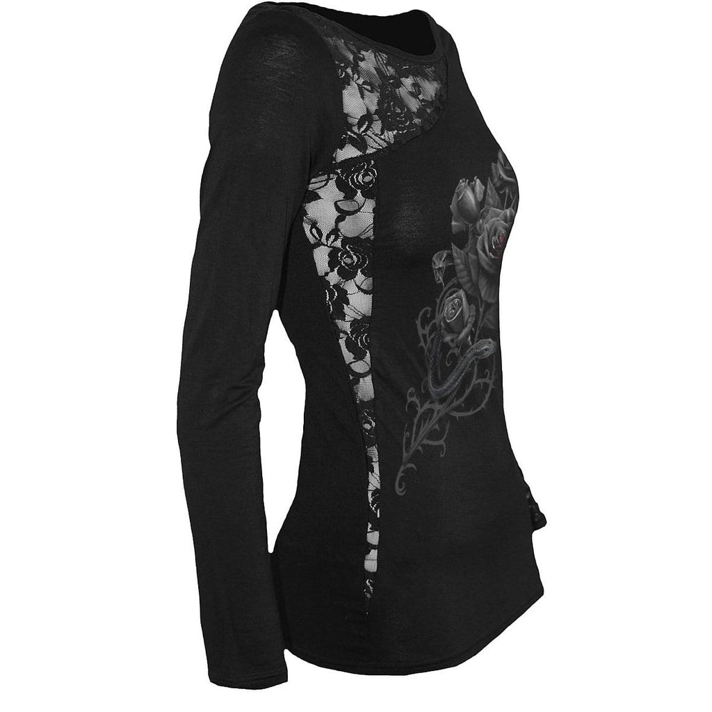 FATAL ATTRACTION - Lace One Shoulder Top Black - Spiral USA