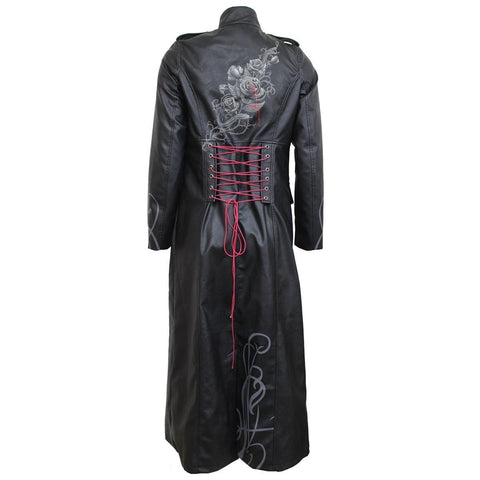 Image of FATAL ATTRACTION - Gothic Trench Coat PU-Leather Corset Back - Spiral USA