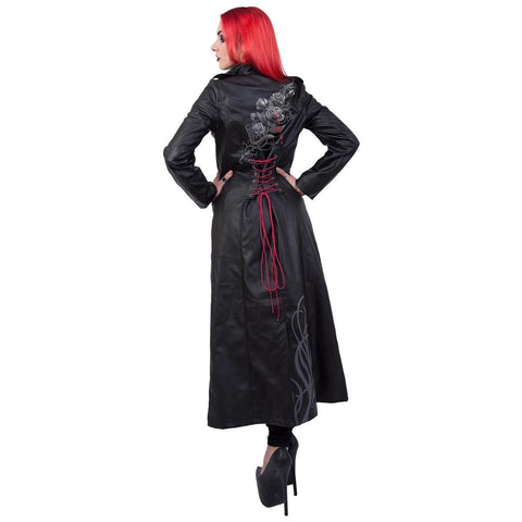 FATAL ATTRACTION - Gothic Trench Coat PU-Leather Corset Back - Spiral USA
