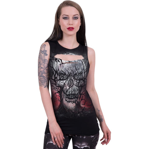 Image of DARK ROOTS - Laser Cut Sleeveless Top - Spiral USA