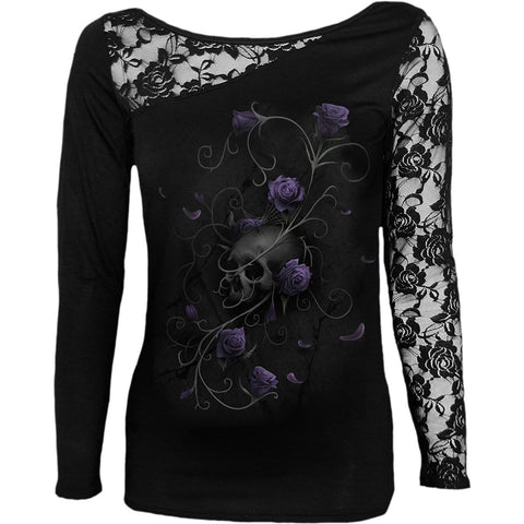 Image of ENTWINED SKULL - Lace One Shoulder Top Black