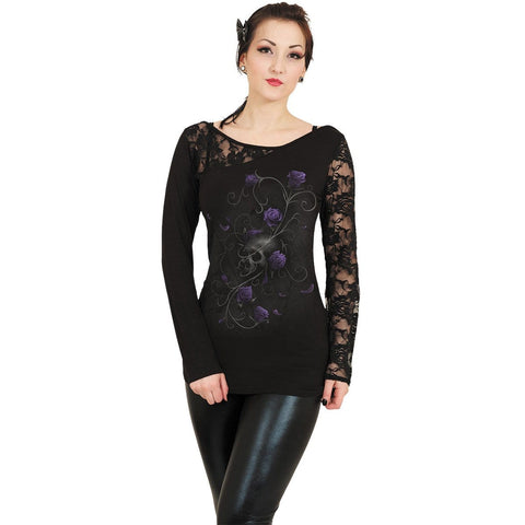 ENTWINED SKULL - Lace One Shoulder Top Black - Spiral USA