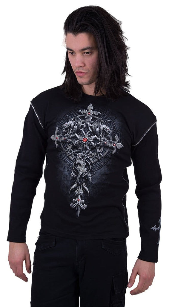 CUSTODIAN - Zip Side Ribbed Gothic Longsleeve - Spiral USA